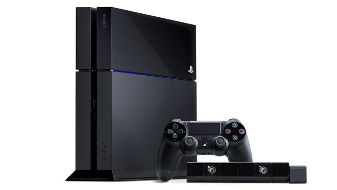 Sony's PlayStation 4 video game system with Dual Shock 4 controller and camera.