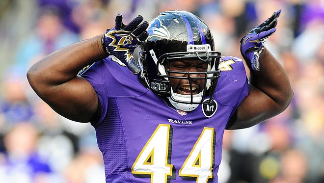 Jan 6, 2013; Baltimore, MD, USA; Baltimore Ravens fullback Vonta Leach (44) celebrates after scoring a touchdown during the second quarter of the AFC Wild Card playoff game against the Indianapolis Colts at M,T Bank Stadium.  Mandatory Credit: Evan Habeeb-USA TODAY Sports ORG XMIT: USATSI-119972 ORIG FILE ID:  20130106_kkt_aq3_175.jpg