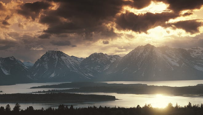 Jackson Lake and the Grand Tetons.