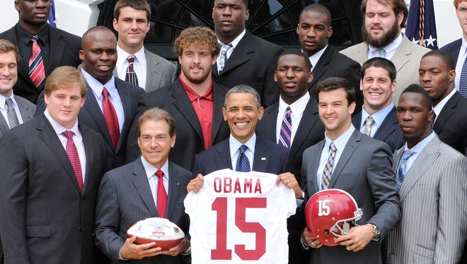 Saban and the Tide meet President Obama in April at the White House.