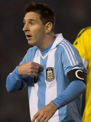 Messi during Argentina's World Cup qualifier vs. Colombia on June 7.