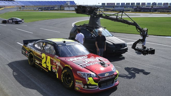 NASCAR drivers Jeff Gordon and  Kasey Kahne were part of a Fox Sports 1 shoot at Charlotte Motor Speedway.