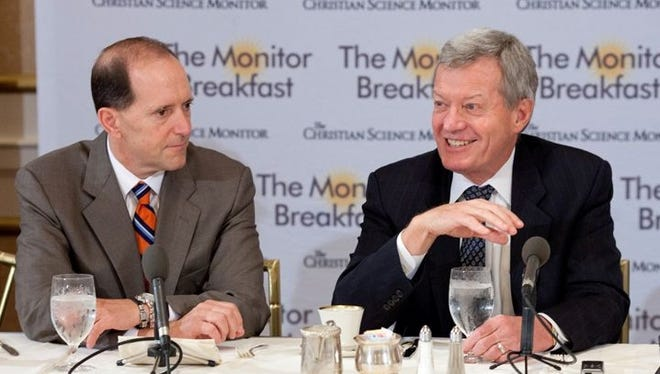 House Ways and Means Committee Chairman Dave Camp., R-Mich., and Senate Finance Committee Chairman Max Baucus, D-Mont., address tax reform at the Christian Science Monitor breakfast Friday.