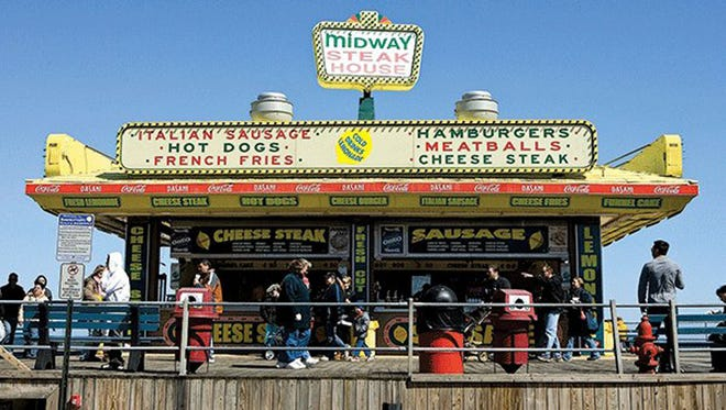 Cheese and grease are the mainstays at Seaside Heights Boardwalk. Pick up legendary cheesesteaks from Midway Steak House.