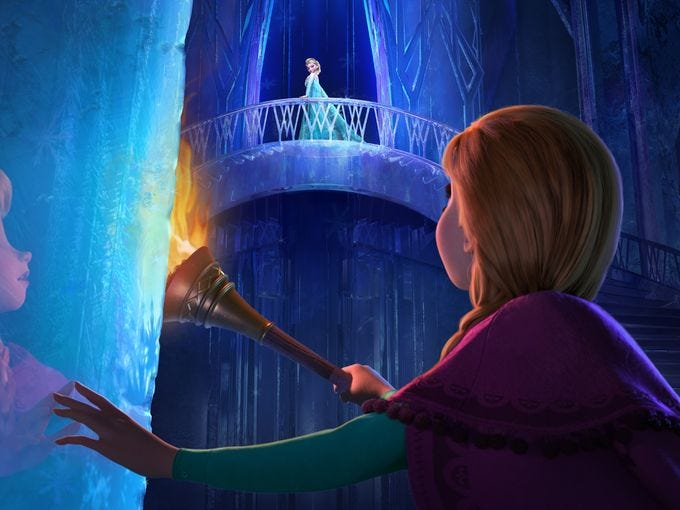 "<p></p><p></p><p></p><p></p><p>Anna (voiced by Kristen Bell) finally meets up with her missing sister, Elsa (Idina Menzel), who has fled the Kingdom of Arendelle after triggering a curse that brings eternal winter. ""Anna is opening the ice door as she enters Elsa's world. And it's the first moment they have seen each other,"" says co-director Jennifer Lee. ""Anna tries to convince Elsa that her place is back at home,"" Bell says. ""That it doesn't matter how you stumble, your home is with me.""</p>"