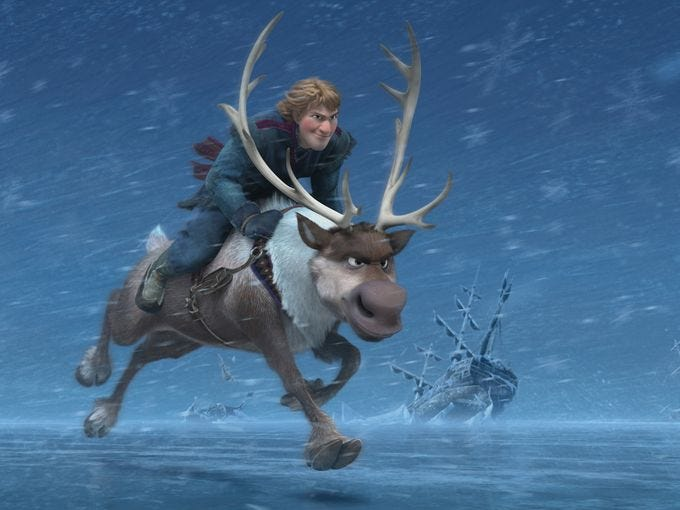 "Kristoff (Jonathan Groff) rides his faithful reindeer, Sven. ""Sven is quite strong and able to carry humans. And the two are best buds,"" Lee says. ""But as a reindeer, he doesn't talk — or fly."""