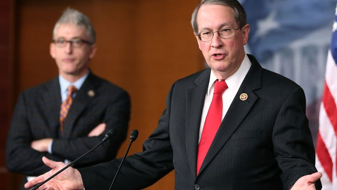 Rep. Bob Goodlatte, R-Va., chairman of the House Judiciary Committee, speaks about immigration during a news conference on Capitol Hill on April 25, 2013.