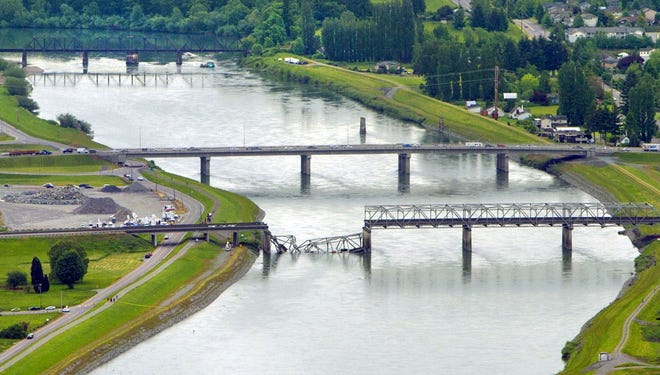 A collapsed section of the Interstate 5 bridge over the Skagit River is seen in an aerial view on May 24 in Mount Vernon, Wash.