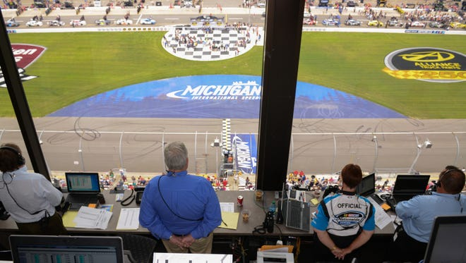 The view from the NASCAR control tower at Michigan International Speedway.