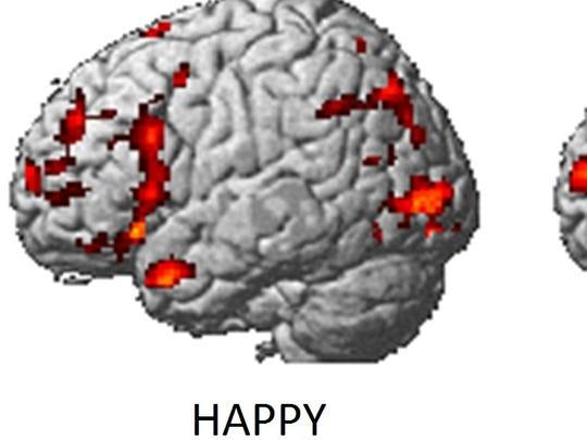 Brain regions in happy and sad states