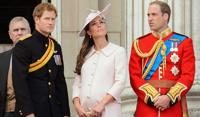 Prince Harry, Duchess Kate, Prince William, on Buckingham Palace balcony during Trooping the Color parade, June 15.