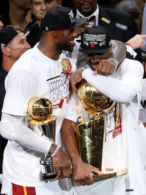 Heat stars LeBron James and Dwyane Wade came together in 2010 and have won consecutive titles.
