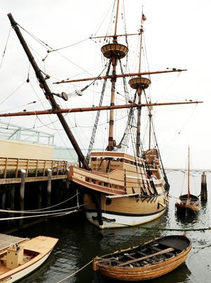 A replica of the Mayflower is shown on Sept. 9, 2008, in Plymouth, Mass.