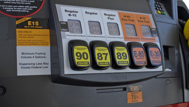 A Lawrence, Kan., fueling station pump displays various grades of fuel, including E15, which contains 5 percent more ethanol than the current 10 percent norm sold at most U.S. gas stations.