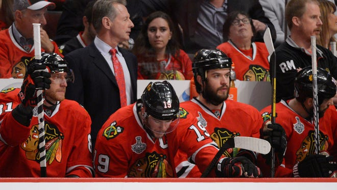Chicago Blackhawks center Jonathan Toews spent the entire third period of Game 5 on the bench.