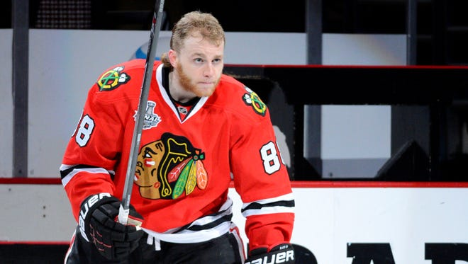 Chicago Blackhawks right wing Patrick Kane scored twice in the last game to be named first star.