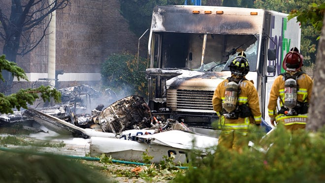 A small plane crashed into a FedEx truck next to a biotech company in San Luis Obispo on Monday afternoon, killing one person. The truck driver was delivering packages and was not hurt.