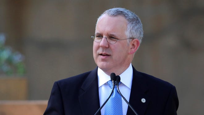 Ex-Oklahoma Gov. Brad Henry speaks during the memorial ceremony for the 15th anniversary of the Oklahoma City bombing on April 19, 2010.