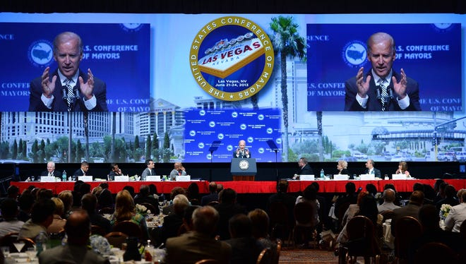 Vice President Biden speaks at the 81st annual U.S. Conference of Mayors meeting in Las Vegas Friday.