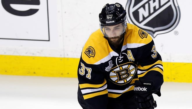 Boston Bruins center Patrice Bergeron (37) warms up before Game 6.