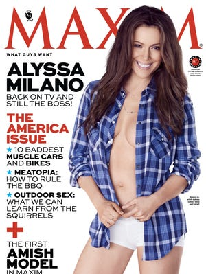Alyssa Milano strikes a pose for the July/August issue of 'Maxim' mag.