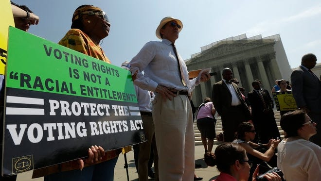 Supporters of the Voting Righs Act outside the Supreme Court on Tuesday.