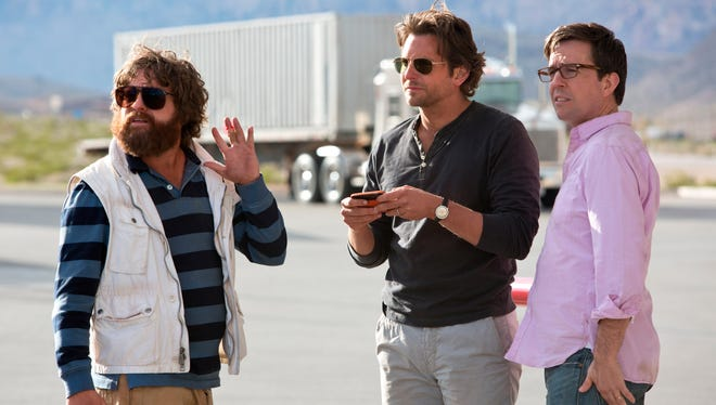 ACH GALIFIANAKIS as Alan, BRADLEY COOPER as Phil and ED HELMS as Stu in a scene from the motion picture 'The Hangover Part III.' CREDIT: Melinda Sue Gordon, Warner Bros. Pictures  [Via MerlinFTP Drop]