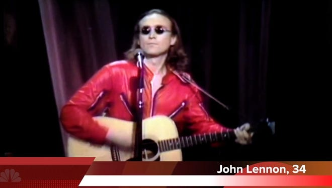 """A frame grab from the YouTube video, """"John Lennon Auditioning on The Voice."""""""