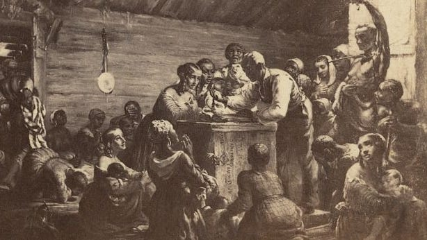 This 1862 artwork shows African American men, women and children gathered around a man with a watch, waiting for the Emancipation Proclamation. President Abraham Lincoln's speech paved the way for the 15th Amendment, which granted African Americans the right to vote.