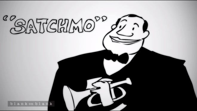 """A frame grab from the YouTube video, """"Louis Armstrong on His Chops."""" The video features an interview with recording artist Louis Armstrong, part of Blank on Blank, a PBS Digital Studios feature. [Via MerlinFTP Drop]"""