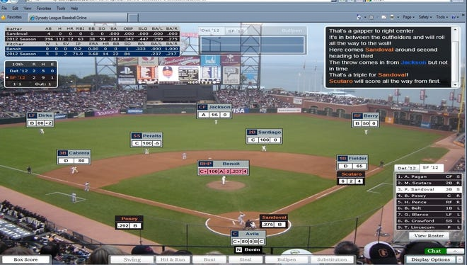 A screenshot of Pablo Sandoval's walk-off hit in Game 1 of USA TODAY Sports' annual World Series preplay using Dynasty League Baseball Online.