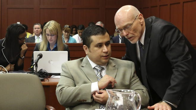 George Zimmerman and his defense attorney, Don West, in court Tuesday in Sanford, Fla.