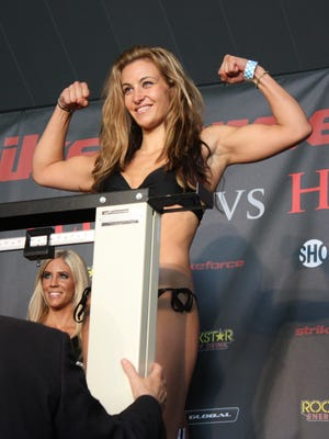 UFC fighter Miesha Tate during a weigh-in in 2011.