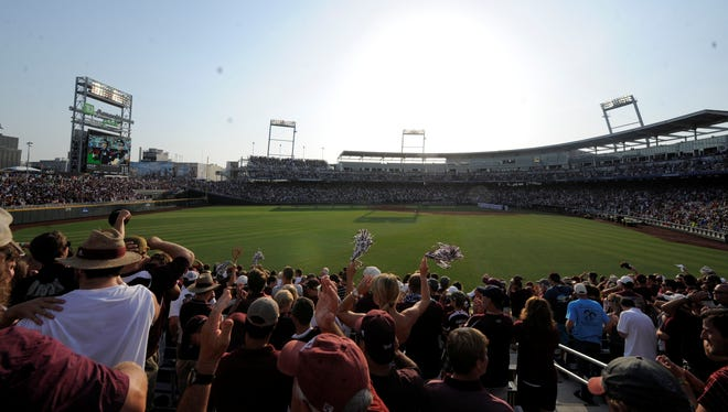General view of TD Ameritrade Park before Game 1 of the College World Series finals between the UCLA Bruins and the Mississippi State Bulldogs.