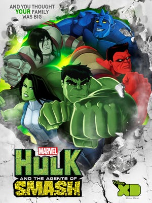"""The upcoming animated series """"Marvel's Hulk and the Agents of S.M.A.S.H."""" features (clockwise from top right) A-Bomb, Red Hulk, Hulk, She-Hulk and Skaar."""