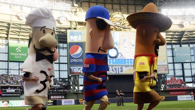 The Sausage Race during the 2011 NLDS between the Arizona Diamondbacks and Milwaukee Brewers.