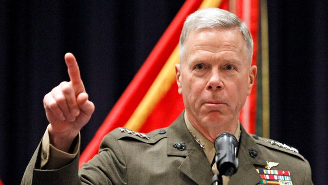 Gen. James Amos is the commandant of the Marine Corps.