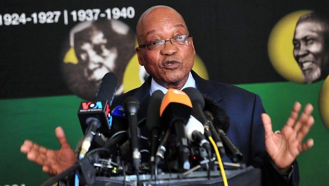 South African President Jacob Zuma speaks in Johannesburg about anti-apartheid icon Nelson Mandela.