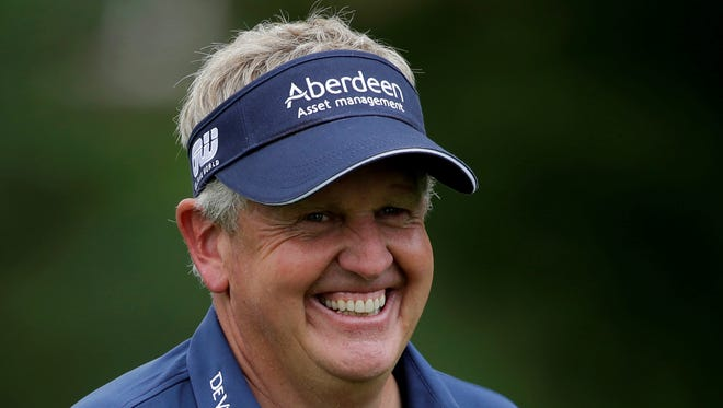 Colin Montgomerie smiles during the pro-am for the Senior Players Championship golf tournament at Fox Chapel Country Club in Pittsburgh on Wednesday, June 26, 2013.
