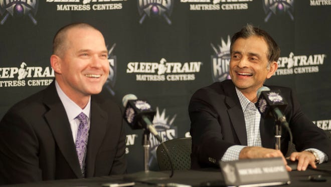 In addition to a new GM, the Kings have a new coach, Mike Malone (left), and owner, Vivek Ranadive (right).