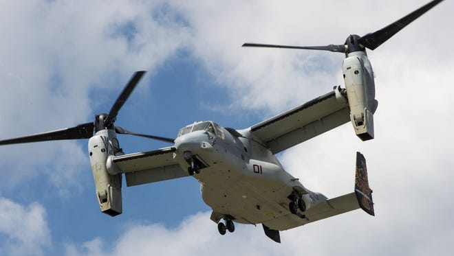 A Marine Corps MV-22 Osprey carries Israeli Minister of Defense Moshe Ya'alon and other Israeli military officials for an in-flight demonstration on the capabilities June 14 at the Pentagon.