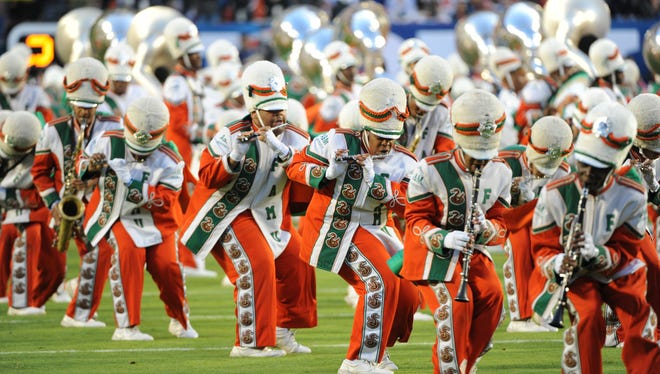 The FAMU marching band performs Feb. 7, 2010, on the field at Sun Trust Stadium.