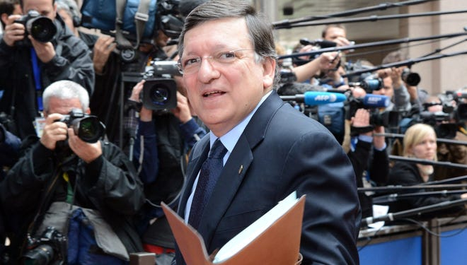 European Commission President  Jose Manuel Barroso arrives for the European Council meeting at the EU headquarters in Brussels.