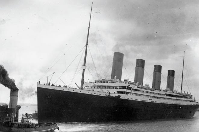 A handout picture received from Southampton City Council shows the Titanic leaving Southampton on her ill-fated maiden voyage on April 10, 1912.