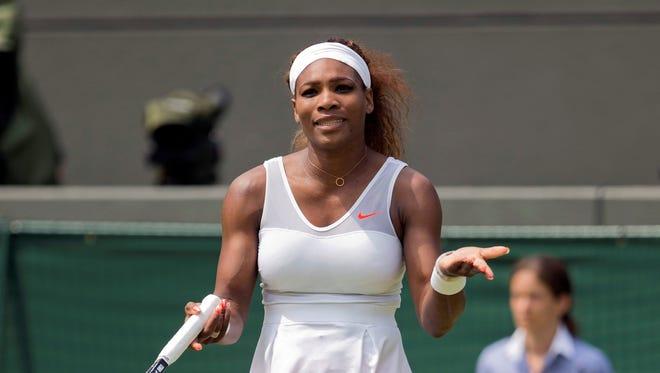 Serena Williams advanced easily Thursday, defeating Caroline Garcia of France.