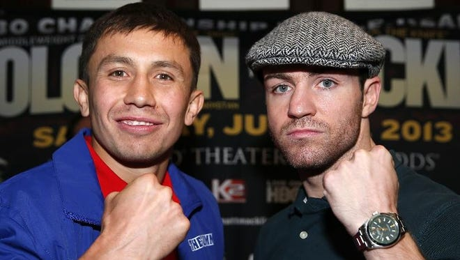 Defending WBA/IBO middleweight champion Gennady  Golovkin, left, and Matthew  Macklin will meet Saturday in a title fight on HBO.