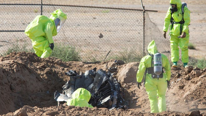 The investigation continues Thursday morning into a F-16 fighter jet that crashed Wednesday night in a field just west of Luke Air Force Base in Glendale.