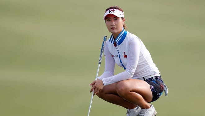 Ha-Neul Kim of South Korea looks on from the second green during the first round of the 2013 U.S. Women's Open at Sebonack Golf Club.
