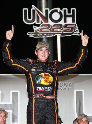 Ty Dillon celebrates after winning the UNOH 225 NASCAR Truck Series race Thursday night at Kentucky Speedway.