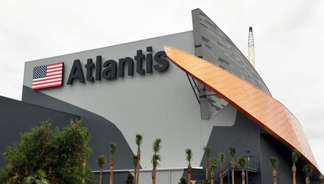 At Kennedy Space Center Visitor Complex, the Space Shuttle Atlantis exhibit is close to its opening on June 29, 2013.